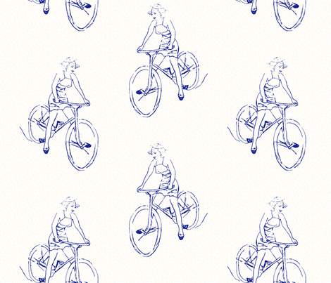 free wheeling// hand drawn onto dashed beige retro look fabric fabric by samantha_woodford on Spoonflower - custom fabric