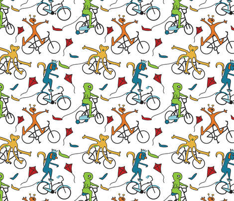 Biking Monster Club fabric by whyitsme_design on Spoonflower - custom fabric