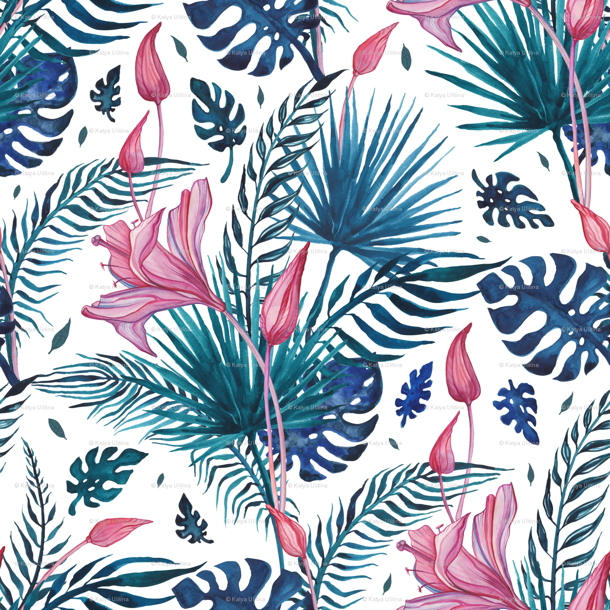 Exotic Tropical Flowers Wallpaper Katyau Spoonflower