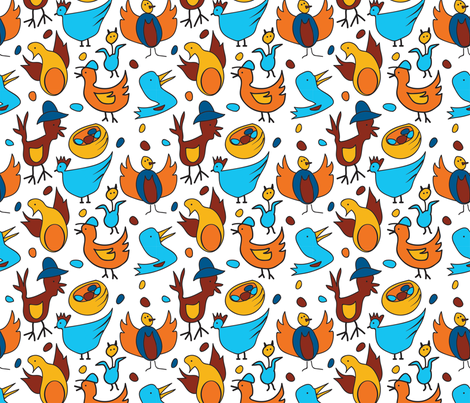 Crazy Birds fabric by whyitsme_design on Spoonflower - custom fabric