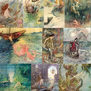 vintage storybook mermaids