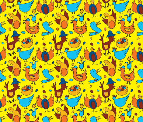Crazy Birds - Yellow fabric by whyitsme_design on Spoonflower - custom fabric