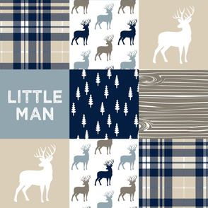 little man patchwork quilt top (buck) || rustic woods collection