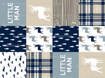 little man patchwork quilt top (buck) || rustic woods collection  (90)