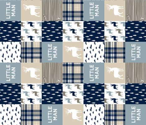 little man patchwork quilt top (buck) || rustic woods collection  (90) fabric by littlearrowdesign on Spoonflower - custom fabric