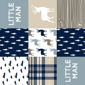 little man patchwork quilt top (buck) || rustic woods collection  (90)