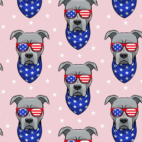 patriotic Pit Bull on pink fabric by littlearrowdesign on Spoonflower - custom fabric