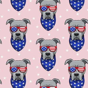 patriotic Pit Bull on pink