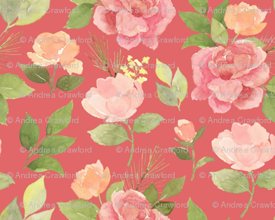 Flowers and pines on pink custom