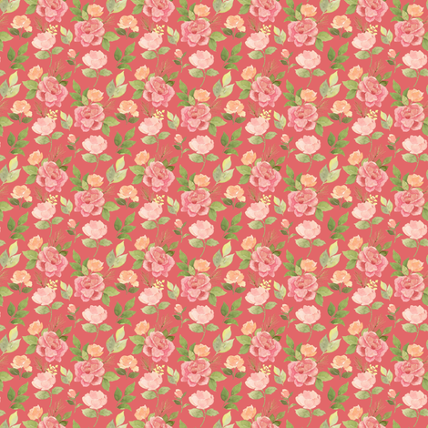Flowers and pines on pink custom fabric by mintpeony on Spoonflower - custom fabric