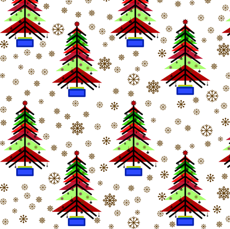 Bauhaus Christmas tree.  fabric by evault on Spoonflower - custom fabric