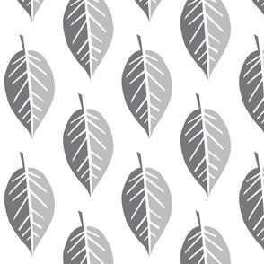 jumbo scale grey paper cut leaves