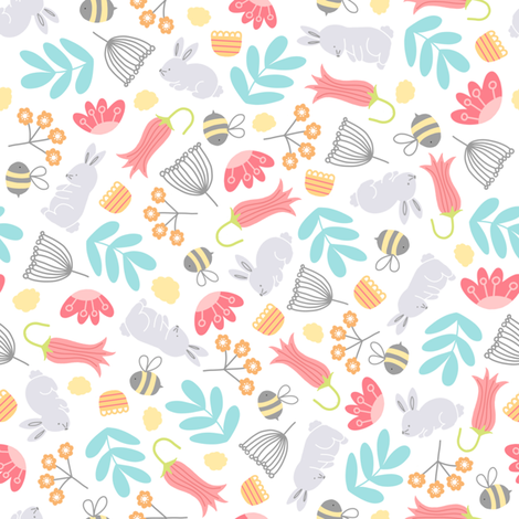 bunnies and bees fabric by twoandthree on Spoonflower - custom fabric