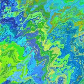 Painted Organic Swirls, Greens