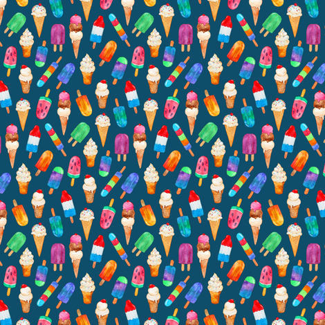 Teeny Tiny Watercolor Summer Ice Creams on Dark Teal fabric by micklyn on Spoonflower - custom fabric