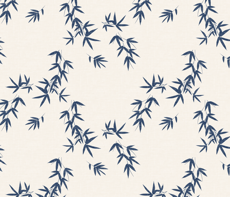Denim Bamboo Leaves fabric by kimsa on Spoonflower - custom fabric