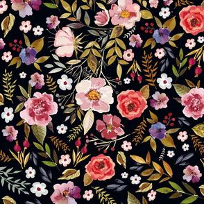 Wildflower Vintage Floral on Blackest Background