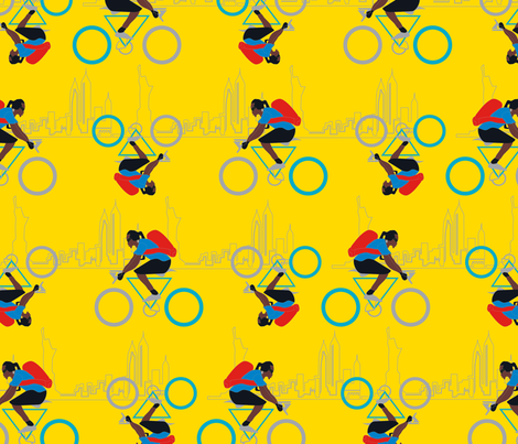 American biker in New-York-01 fabric by sissi-tagg on Spoonflower - custom fabric