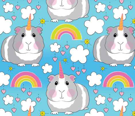 jumbo unicorn guinea pigs and rainbows fabric by lilcubby on Spoonflower - custom fabric