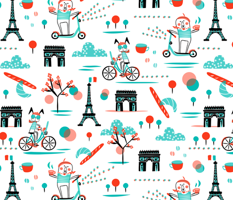 Bicyclette  fabric by heatherdutton on Spoonflower - custom fabric