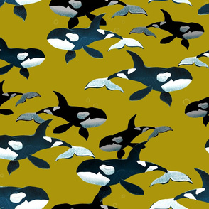 Orcas on Gold - Larger Scale