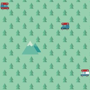 RV cars, mountains, and trees