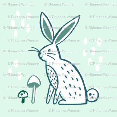Woodland Rabbit - Mint and Emerald