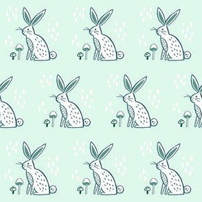 Woodland Rabbit - Mint and Emerald
