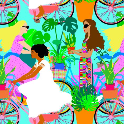 Botanical Boho Bicycle Babes fabric by elliottdesignfactory on Spoonflower - custom fabric