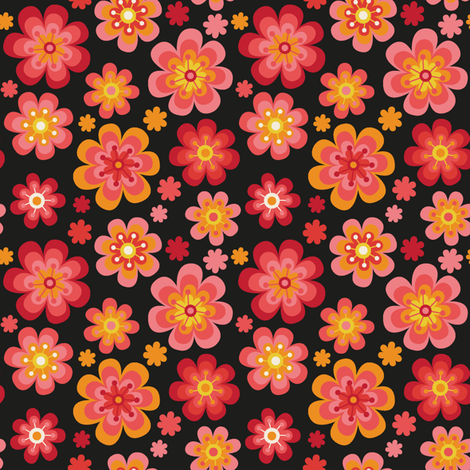 Flower power black fabric by yvonnesgalleri on Spoonflower - custom fabric