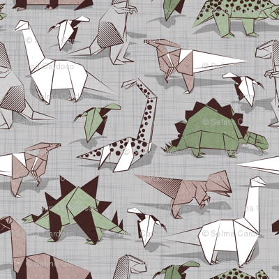 Origami dino friends // small scale // grey linen texture background paper green dinosaurs