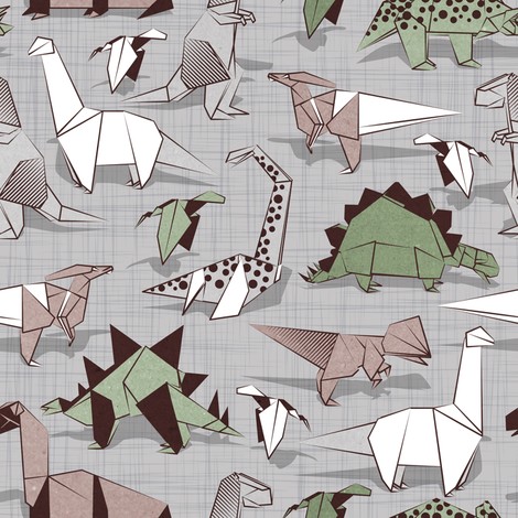 Origami dino friends // small scale // grey linen texture background paper green dinosaurs  fabric by selmacardoso on Spoonflower - custom fabric