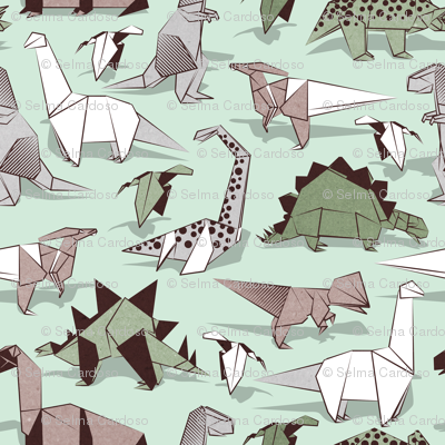 Origami dino friends // small scale // green aqua background paper green dinosaurs