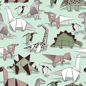 Origami dino friends // small scale // green aqua background paper green dinosaurs