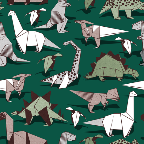 Origami dino friends // small scale // green background paper green dinosaurs  fabric by selmacardoso on Spoonflower - custom fabric