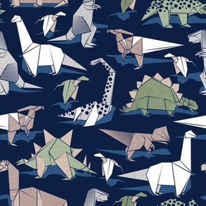 Origami dino friends // small scale // oxford navy blue background paper green dinosaurs
