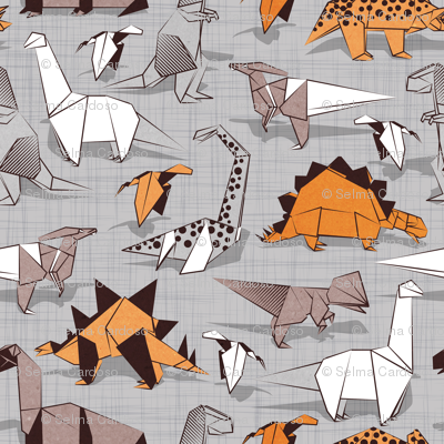 Origami dino friends // small scale // grey linen texture background paper orange dinosaurs