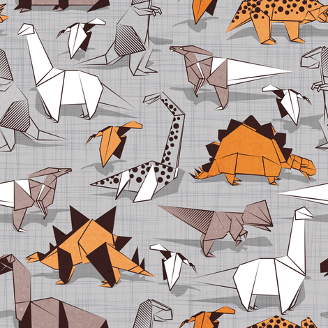 Origami dino friends // small scale // grey linen texture background paper orange dinosaurs  fabric by selmacardoso on Spoonflower - custom fabric