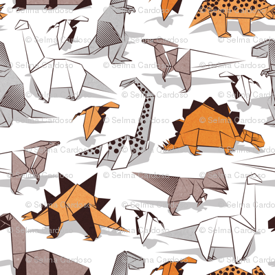 Origami dino friends // small scale // white background paper green dinosaurs
