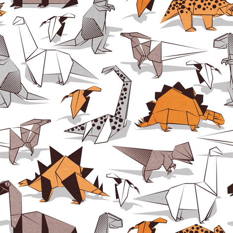 Origami dino friends // small scale // white background paper green dinosaurs fabric by selmacardoso on Spoonflower - custom fabric