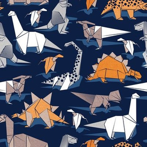 Origami dino friends // small scale // oxford navy blue background paper orange dinosaurs