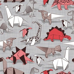 Origami dino friends // small scale // grey linen texture background paper red dinosaurs