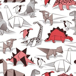 Origami dino friends // small scale // white background paper red dinosaurs