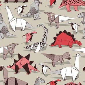 Origami dino friends // small scale // beije background paper red dinosaurs