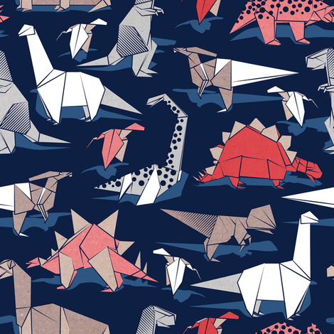 Origami dino friends // small scale // oxford navy blue background paper red dinosaurs  fabric by selmacardoso on Spoonflower - custom fabric