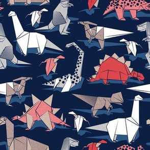 Origami dino friends // small scale // oxford navy blue background paper red dinosaurs