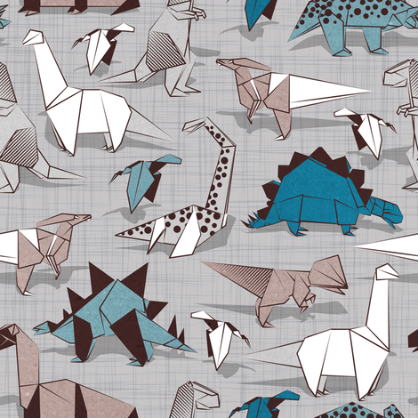 Origami dino friends // small scale // grey linen texture background paper blue dinosaurs  fabric by selmacardoso on Spoonflower - custom fabric