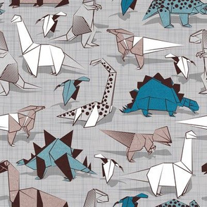 Origami dino friends // small scale // grey linen texture background paper blue dinosaurs