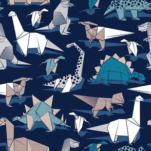 Origami dino friends // small scale // oxford navy blue background paper blue dinosaurs