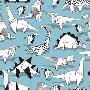 Origami dino friends // small scale // pastel blue background black & white dinosaurs